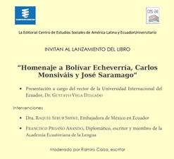 """Invitación al lanzamiento del libro: """"Homenaje a Bolívar Echeverría, Carlos Monsiváis y José Saramago"""""""